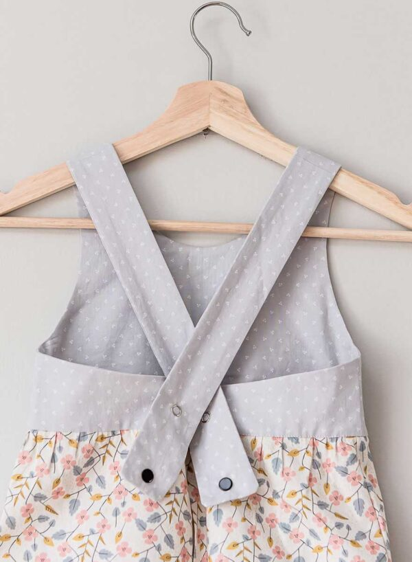 The Charlie Jumper, grey and retro pink flower